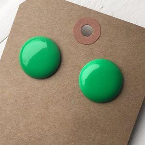 Green round 90s vintage simple minimalist earrings